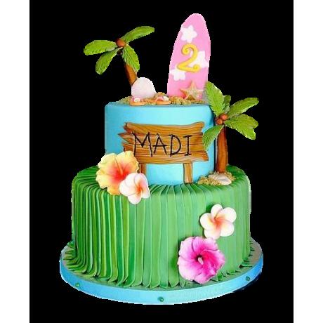 hula tropical theme cake 6