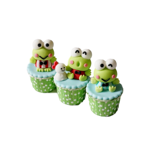 Keroppi the frog cupcakes