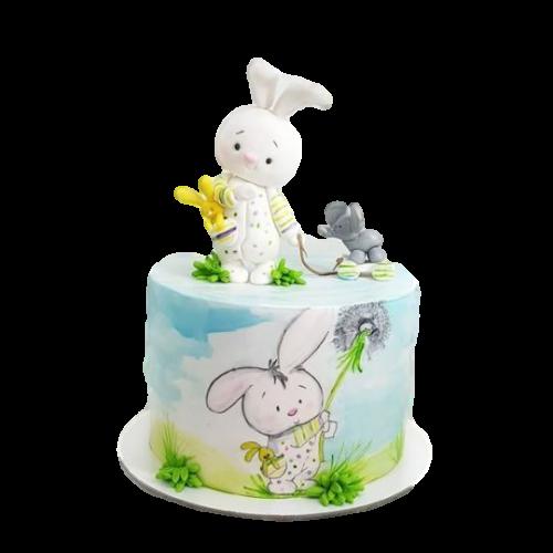 1st birthday cake with bunny rabbits
