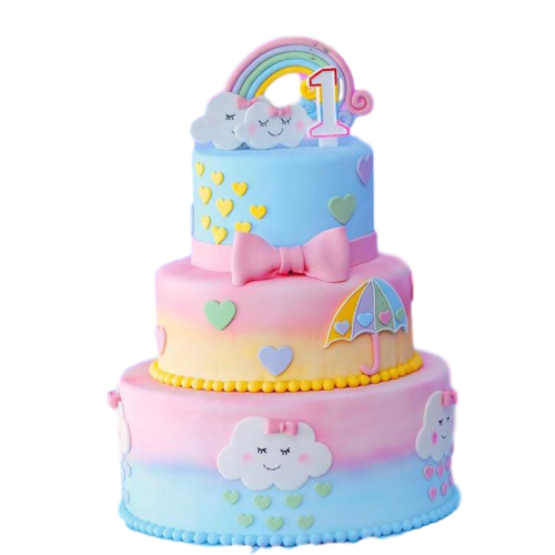Rainbows and clouds cake
