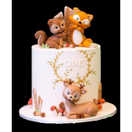 woodland animals theme cake 6