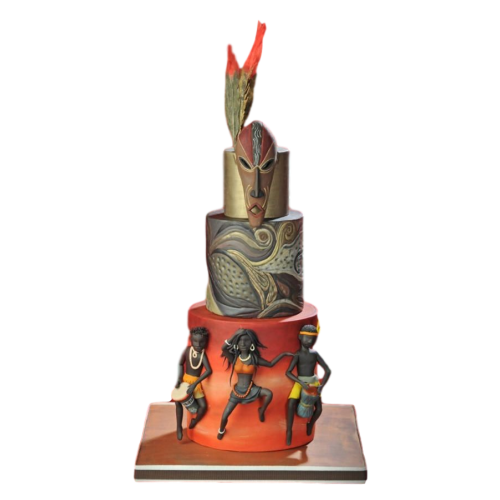 African mask cake