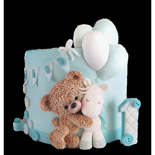Cute Bear and Unicorn cake