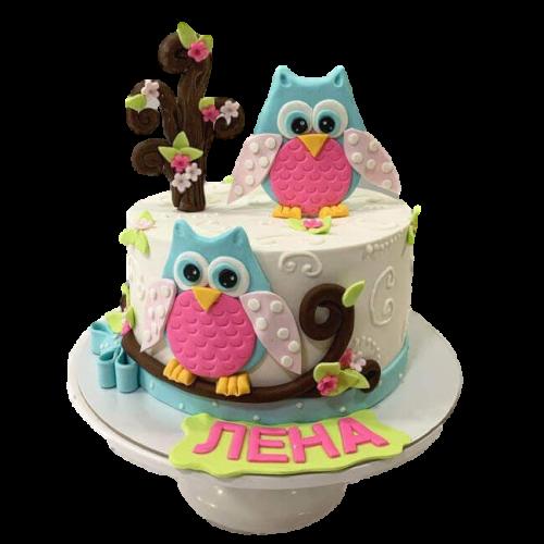 owl cake 7 7