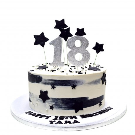 Black white silver 18th birthday cake
