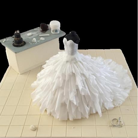 Bridal dress cake 5