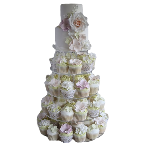 cake and cupcakes with flowers 6