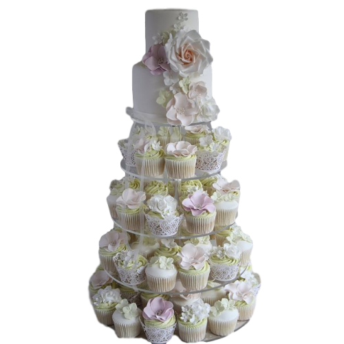 cake and cupcakes with flowers 7