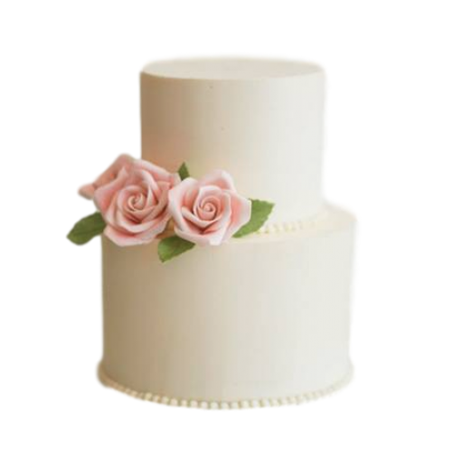 Cake with pink roses