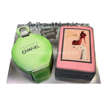 Chanel perfume and Louboutin cake