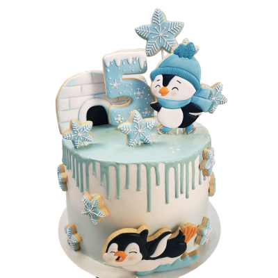 Funny penguins cake 2
