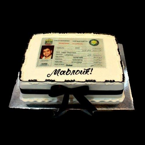 Driving license cake