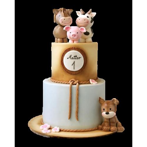 farm animals cake 5 7