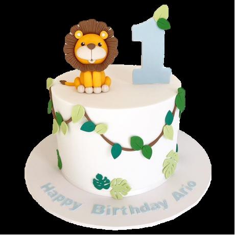 jungle birthday cake with lion 6