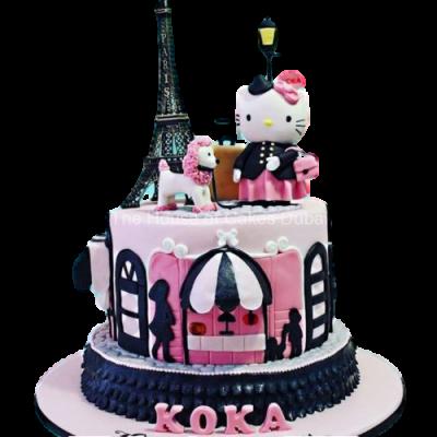 Hello Kitty in Paris cake