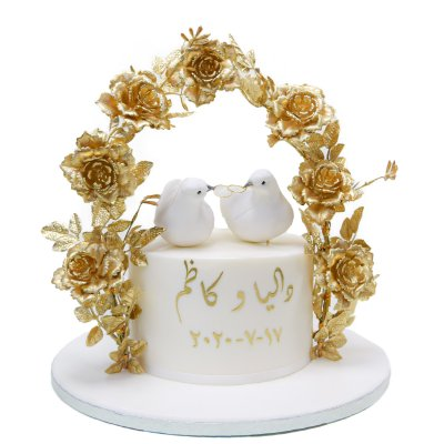Love birds cake with gold roses arch