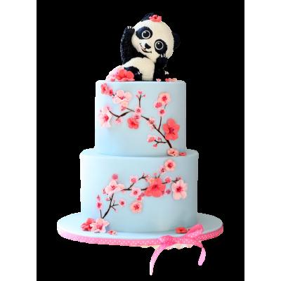 Panda and cherry blossoms cake