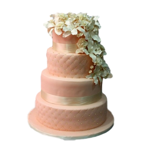 classic peach wedding cake with white flowers 7