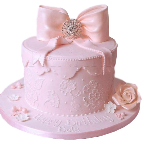 Cake with pink bow 3