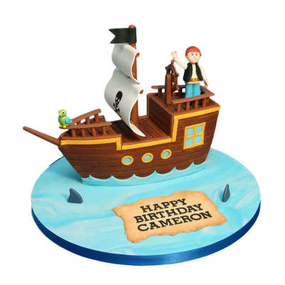 Pirate ship cake 4