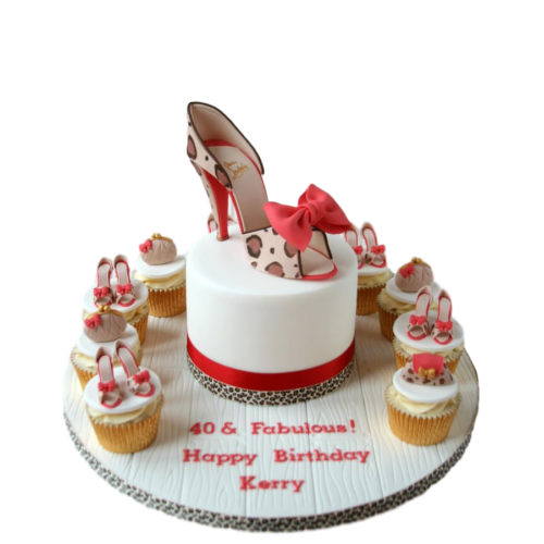 cake and cupcakes with shoes 2 7