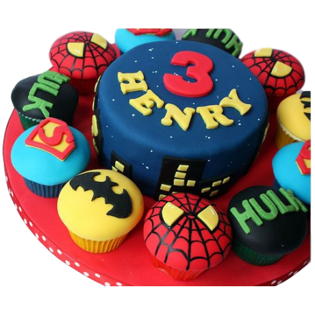 cake and cupcakes superheroes 6