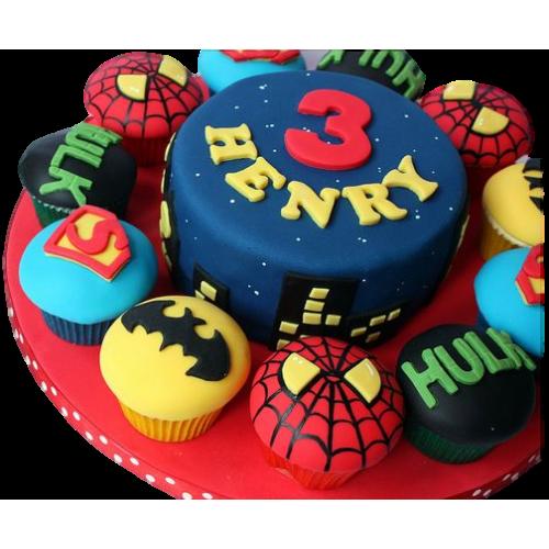 cake and cupcakes superheroes 7