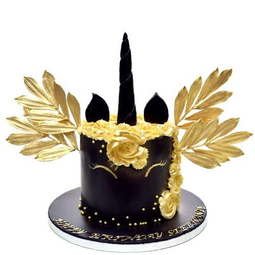 black and gold unicorn cake 7