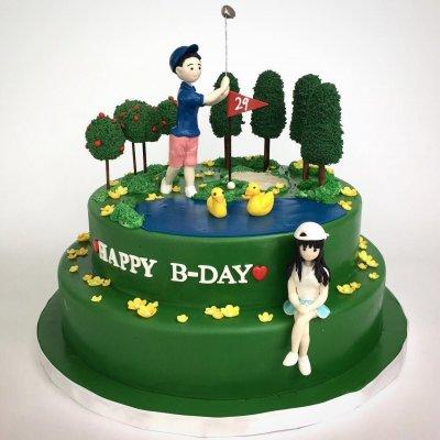 Golfing couple Cake