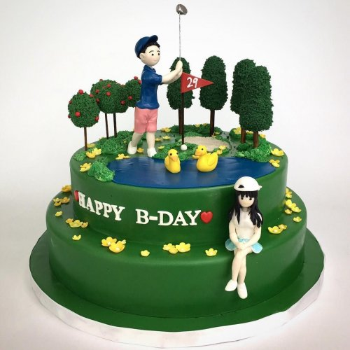 golfing couple cake 7