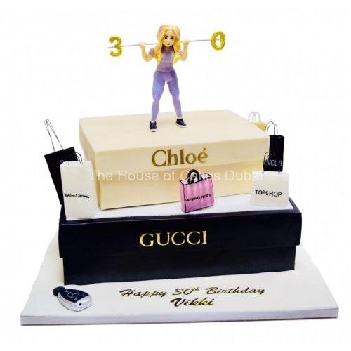 30th fashion and shopping theme cake 7