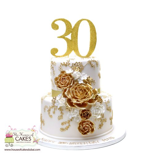 White and gold roses cake