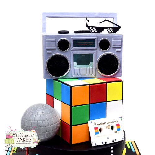 Disco theme cake with Rubic cube