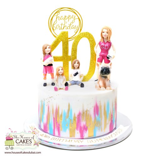 Magnificent 40Th Birthday Cake With Mother Kids And Dog Personalised Birthday Cards Arneslily Jamesorg