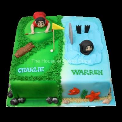 Half Golfer Half diver cake