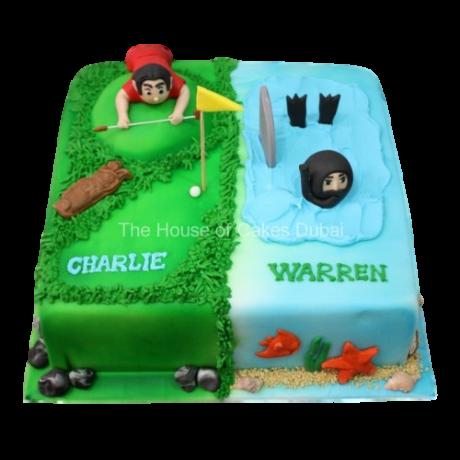 half golfer half diver cake 6