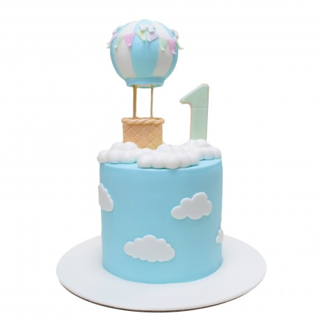 1st birthday cake with air balloon 6