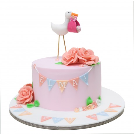 baby shower cake with stork 6
