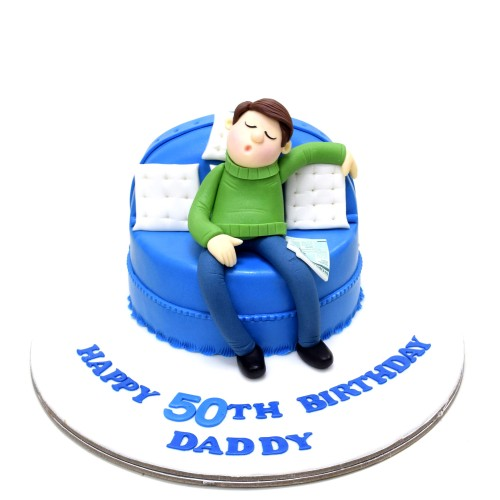 men on sofa cake 3 7