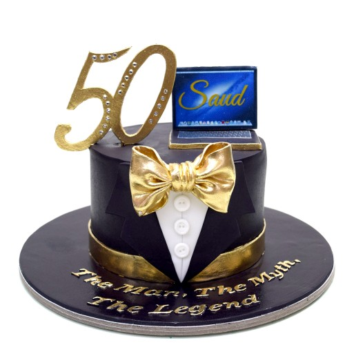 50th birthday cake with gold bow 7