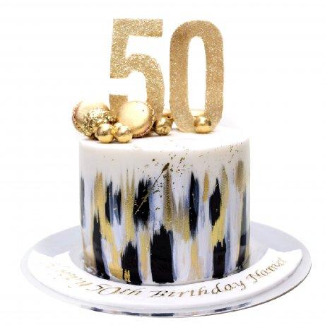 stylish black white gold cake 6