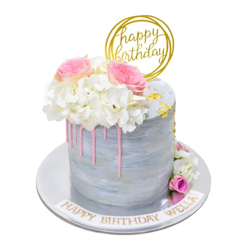 grey silver cake with pink and white flowers 7