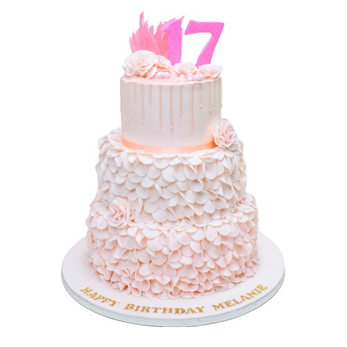 light pink cake with ruffles 7