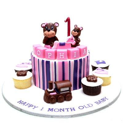 Teddy bear cake and cupcakes 2