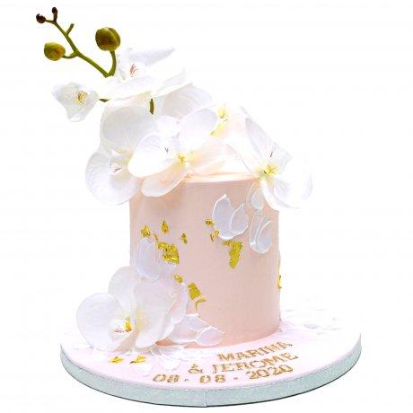 pretty peach cake with orchids 6