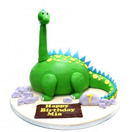 green dinosaur shape cake 6