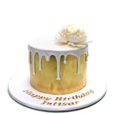 Gold Cake white drip
