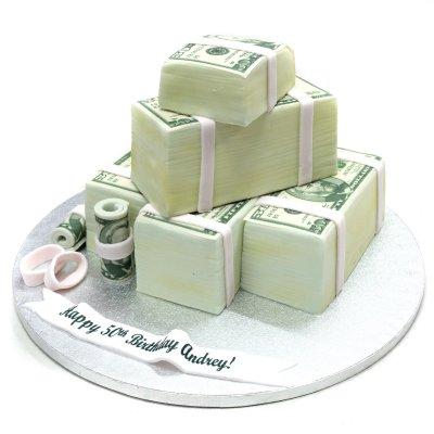 Bundles of money cake