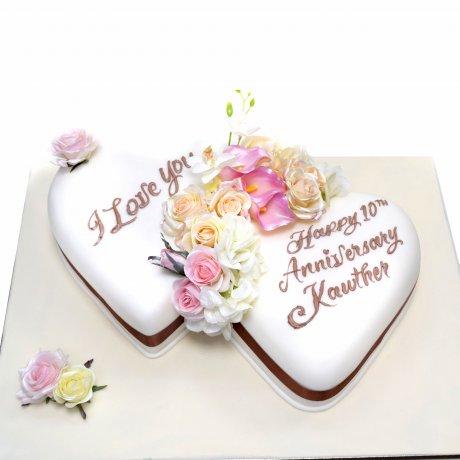 double heart anniversary cake 6