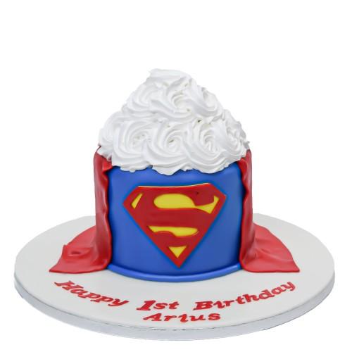 1st birthday superman cake for cake smash 7